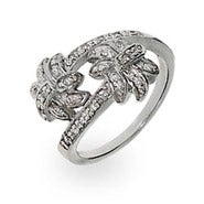 Designer Style Diamond CZ Palm Tree Ring