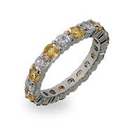Sterling Silver Canary and Clear Stackable CZ Band