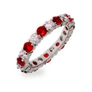 Ruby Red and Clear CZ Silver Eternity Ring
