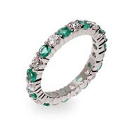 Emerald and Clear CZ Silver Eternity Ring