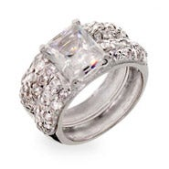 Designer Inspired Emerald Cut CZ Sterling Silver Wedding Ring Set