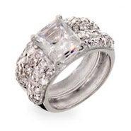 Designer Inspired Emerald Cut CZ Sterling Silver Wedding Ring Set