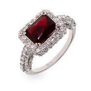 Ruby CZ Sterling Silver Cocktail Ring