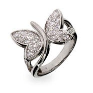 Pave CZ Fluttering Butterfly Sterling Silver Ring