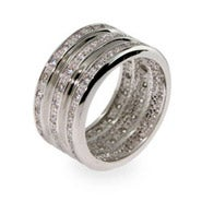 Designer Inspired Triple Row CZ Wide Sterling Silver Ring