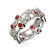 Designer Style Ruby Bubbles Sterling Silver Ring