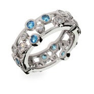 Designer Style Sapphire Bubbles Sterling Silver Ring