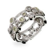 Designer Style Peridot Bubbles Sterling Silver Ring