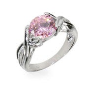 Simple Pink Cubic Zirconia Sterling Silver Ring