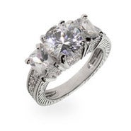 Three Diamond CZ Right Hand Ring