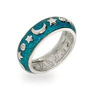 Designer Inspired Moon and Stars Blue Enamel Ring
