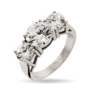 Celebrity Inspired CZ 3 Stone Engagement Ring