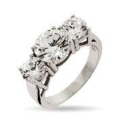 Celebrity Inspired CZ 3 Stone Engagement Ring