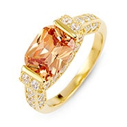 Champagne and Diamond CZ Gold Ring