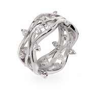 Waves of CZ Raindrops Sterling Silver Ring