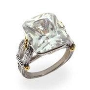 Emerald Cut Diamond CZ Intricate Design Ring