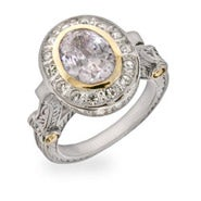 Designer Inspired Oval Cut Diamond CZ Vintage Style Ring