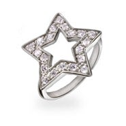 Designer Style CZ Sterling Silver Star Ring