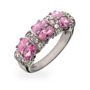 Sparkling Pink and Diamond CZ Sterling Silver Ring