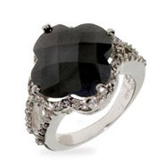 Onyx and CZ Four Petal Clover Ring