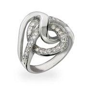 Modern Style CZ Swirl Sterling Silver Ring