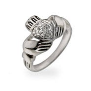 Pave CZ Heart Sterling Silver Claddagh Ring