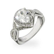 Celebrity Inspired Pear Cut CZ Sterling Silver Engagement Ring