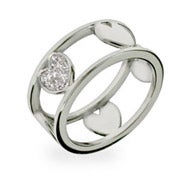 Designer Style Sterling Silver Cut Out Band of Hearts Ring