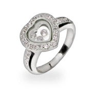 Designer Inspired Floating CZs Sterling Silver Heart Ring