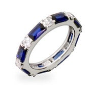 Sapphire and Diamond CZ Stackable Eternity Band