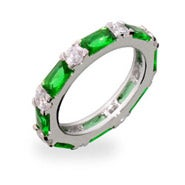 Emerald and Diamond CZ Stackable Eternity Band