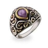 Amethyst Teardrop CZ Silver Bali Ring