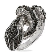 CZ Black Snake Ring
