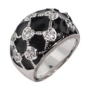 Black Enamel CZ Heart Ring