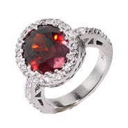 Oval Cut Garnet CZ Sterling Silver Ring