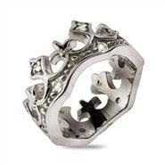 Sterling Silver CZ Fleur de Lis Tiara Ring