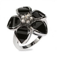 Black Onyx CZ Flower Sterling Silver Ring
