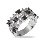 Onyx CZ Triple Row Sterling Silver Band