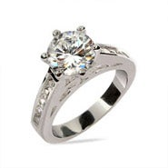 Sterling Silver CZ Engagement Ring with Channel Set CZ Band