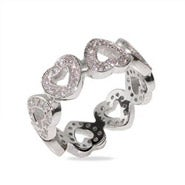 Designer Style Band of CZ Hearts Sterling Silver Ring