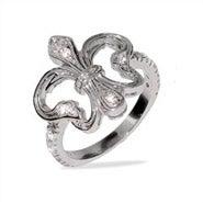 Elegant Victorian Style Silver and CZ Fleur de Lis Ring