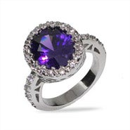 Purple Oval Cut Amethyst CZ Ring