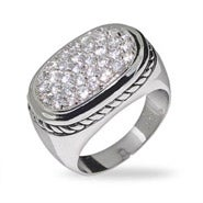 Modern Pave CZ Ring with Cable Detail