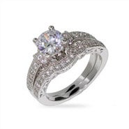 Victorian Style Sterling Silver and CZ Wedding Ring Set