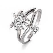 Palm Tree Split Band CZ Ring