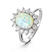 Oval Opal and CZ Halo Ring