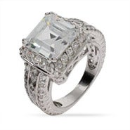 Sterling Silver Asscher Cut CZ Cocktail Ring