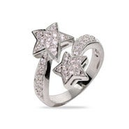 Shooting Stars Pave CZ Sterling Silver Ring