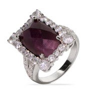 Emerald Cut Amethyst CZ Cocktail Ring