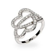 Sparkling Pave CZ Linked Hearts Ring